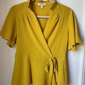 Mustard Yellow Tie Blouse